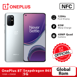 Global Rom OnePlus 8T 8 T OnePlus Official Store Snapdragon 865 5G Smartphone 12GB 256GB 120Hz Fluid Display 48MP Quad 65W Warp