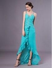 vestido de noiva Chiffon Prom Dress 2020 Turquoise Asymmetrical V Neck Beading Ruffle Evening Party Dress Plus Size ruffle trim bowknot plus size printed dress