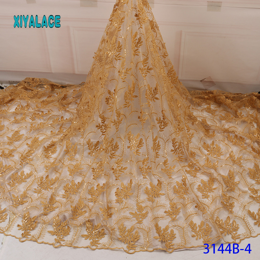 Golden African Lace Fabrics Organza Lace Fabric 2019 High Quality Nigerian French Tulle Lace With Net Lace Fabric YA3144B-4