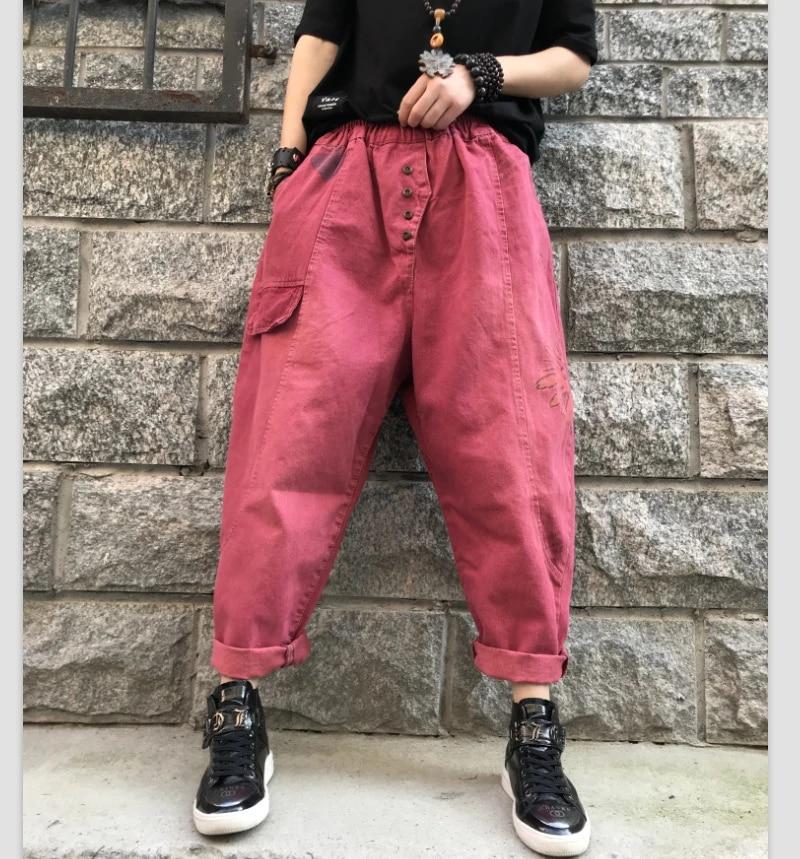 Modernos Vaqueros Holgados De Cintura Elastica Para Mama Ropa De Calle Para Novios Pantalones Largos De Tela Vaquera Lavada Pantalones Cruzados Para Mujer Vaqueros Haren Rojos Pantalones Y Pantalones Capri Aliexpress