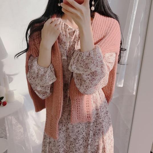 H3715c93072a243c1800a13fa7fcf0125w - Autumn Puritan Collar Long Sleeves Chiffon Floral Print Lace-Up Slim Midi Dress