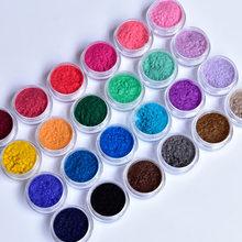 24 cores/conjunto prego reunindo pó de veludo pó de caxemira arte do prego 24 caixas pigmento unha polonês decorações veludo pó poeira kr #74