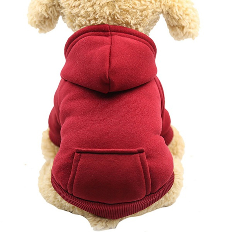 Одноцветная Толстовка для домашних животных с шапкой, осенне-зимняя одежда для собак, джемпер для питомцев, толстовки для собак, толстовка, продукт для домашних животных - Цвет: wine red