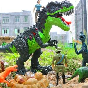 Image 1 - Парк Юрского периода большие электронные игрушечные модели динозавров для детей, звуковая игрушка для мальчика, яйцо животного, фигурка, цельный домашний декор