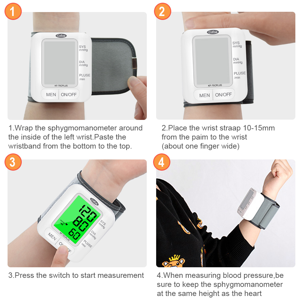 Cofoe Wrist Blood Pressure Monitor upgrade automatic sphygmometer voice three-color backlight heart rate and pulse health care 6