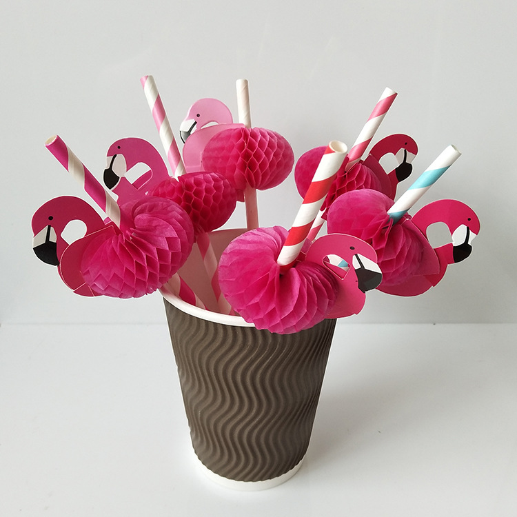 3d Flamingo Drinking Straws Jungle Paper Straw Summer Pool Party Supplies Decor