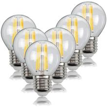 6 PCS E27 LED Filament Bulb Lamp Edison Vintage Pendant Light Bulb For Bar G45 Warm White Light 2700K 4W 220-240V