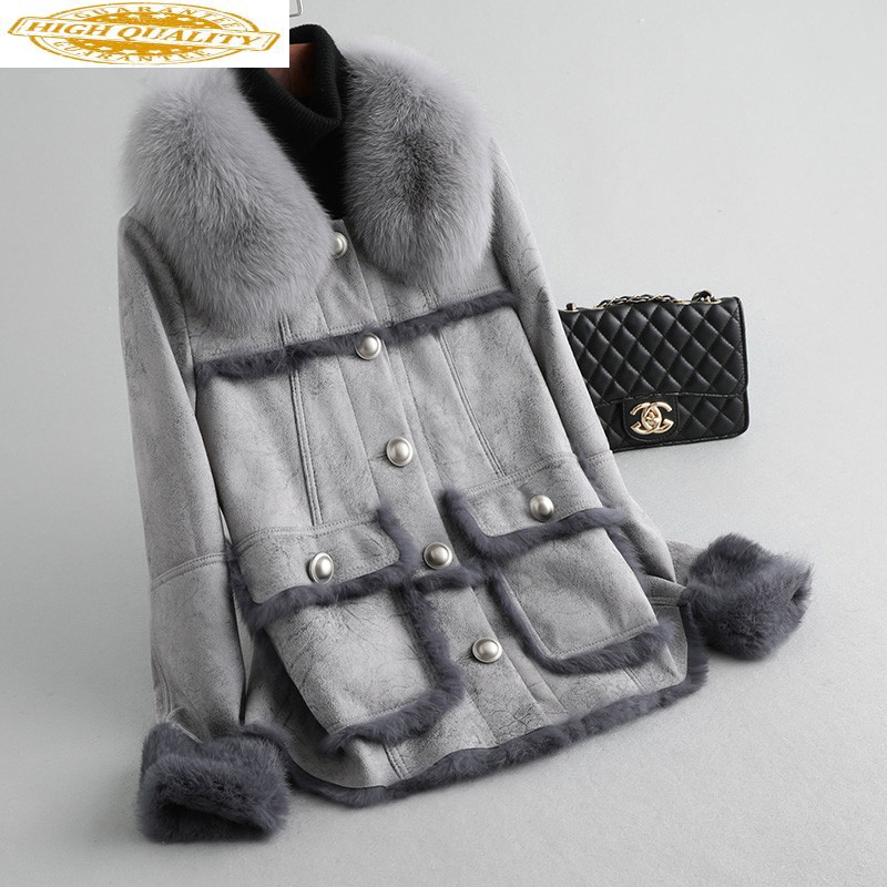 Real Fur Coat Female Natural Rabbit Fur Coat Winter Jacket Women Fox Fur Collar Faux Leather Jacket Manteau Femme MY4691