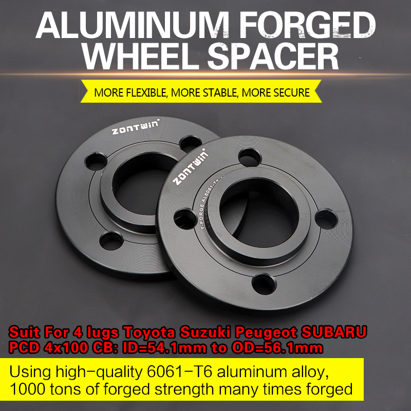 2/4Piece 3/5/8/10mm Wheel Spacer Adapters PCD 4x100 CB: ID=54.1mm To OD=56.1mm Suit For 4 Lugs Toyota Suzuki Peugeot SUBARU Car