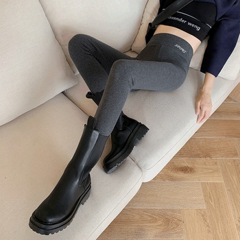Grey Leggings women wear spring and autumn cotton high waist elastic tight legged black autumn winter Plush autumn pants image