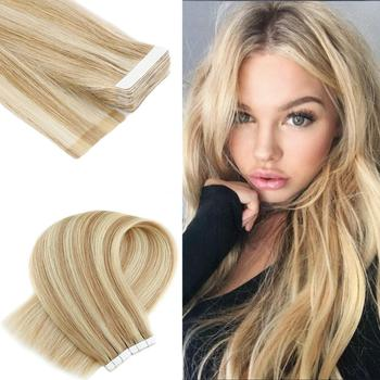 Neitsi Straight Skin Weft Adhesive Hair None Remy Tape In Human Hair Extensions 20 P18/613# Double Side Tape Piano Color neitsi straight skin weft adhesive hair non remy tape in human hair extensions 16 20 24 double side tape