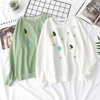 Autumn New Women Sweet T shirts Avocado Embroidery Bestie Long Sleeve T shirt Teen Girls Student Kawaii Loose Tops Preppy Style