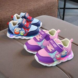 Peppa pig george crianças sapatos de luz led crianças tênis dos desenhos animados casuais criança peppa infantil bebê ao ar livre fivela sapatos