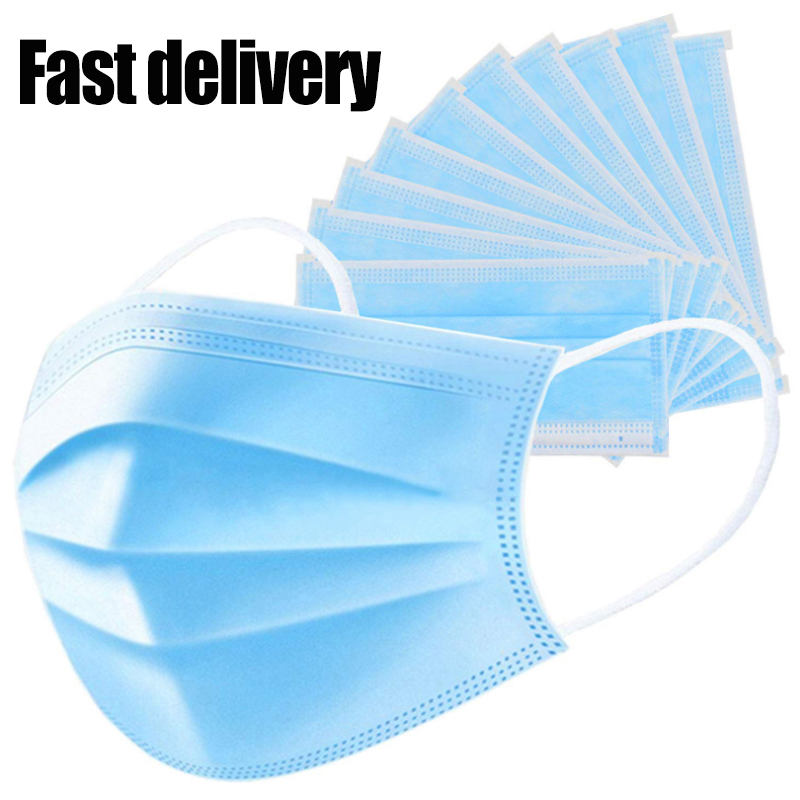 10pcs/lot In Stock 3 Layers Anti Virus Anti-Dust Dustproof Disposable Earloop Face Mouth Masks Facial Protective Cover Masks