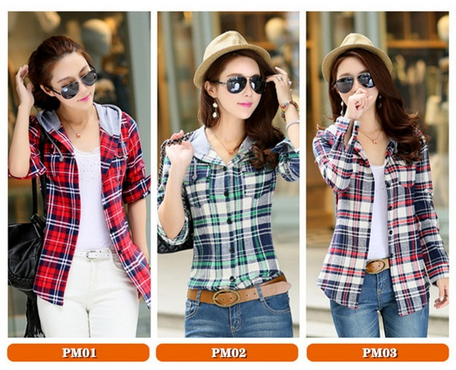 High-end women's plaid shirt Japanese style 100%Cotton Soft Breathable Comfortable Colorfast Anti-Pilling Keep-warm Hooded shirt 2