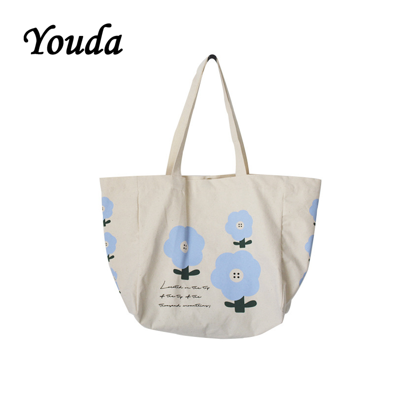Youda 2019 New Small Flower Print Style Canvas Bag Women's Large-capacity Shoulder Bags Classic Student Handbag Shopping Tote