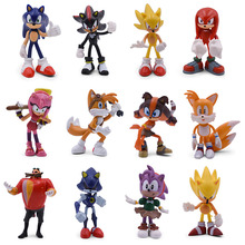 7 Set Sonic Cartoon PVC Action Figure Game Shadow Amy Rose Knuckles Tails Collectible Model Doll Toys Gift For Children