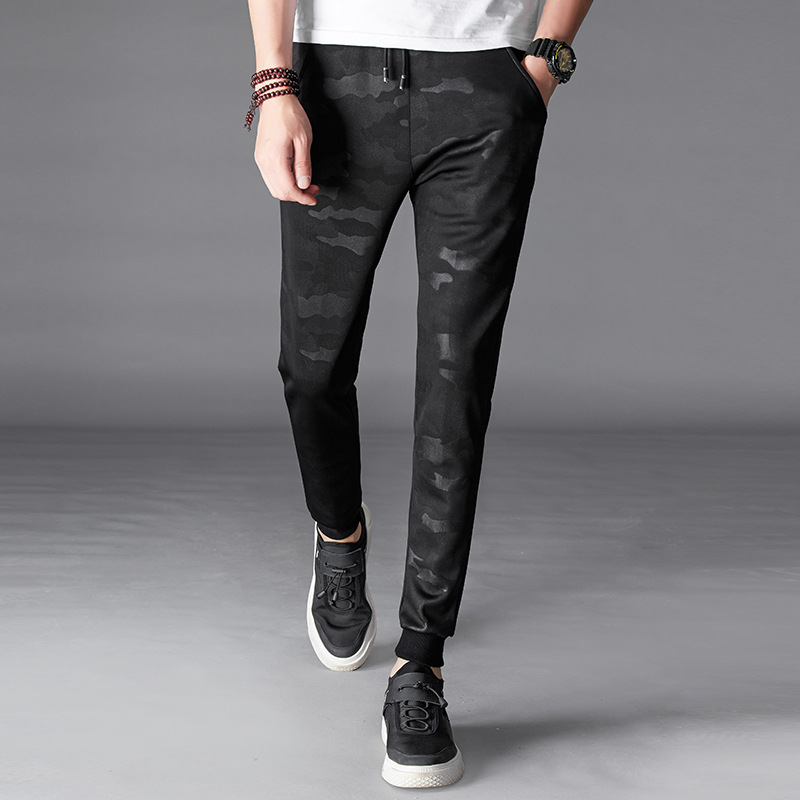 2018 Spring And Summer Slim Fit Men'S Wear Fashion Casual Pants Summer Korean-style Slim Fit Dark Stripes MAN'S Ninth Pants Skin