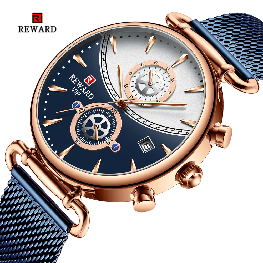 Reward Men Watch Waterproof Chronograph Mens Watches Top Brand Sports Auto Date Mesh Quartz Watches For Men Relogio Masculino