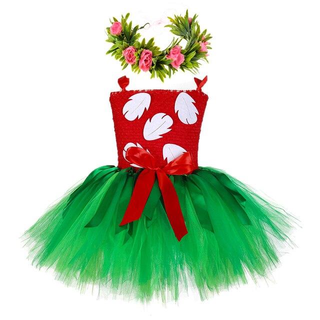 Hawaiian Hula Lilo Girls Tutu Dress Baby Infant Girls Hula Luau Birthday Party Dress Halloween Lilo Costume Outfit with Headband