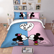 Disney Bedding set white Mickey Minnie Mouse Kiss Duvet Cover Pillowcases Twin Full Queen King Size kids bed home Textiles