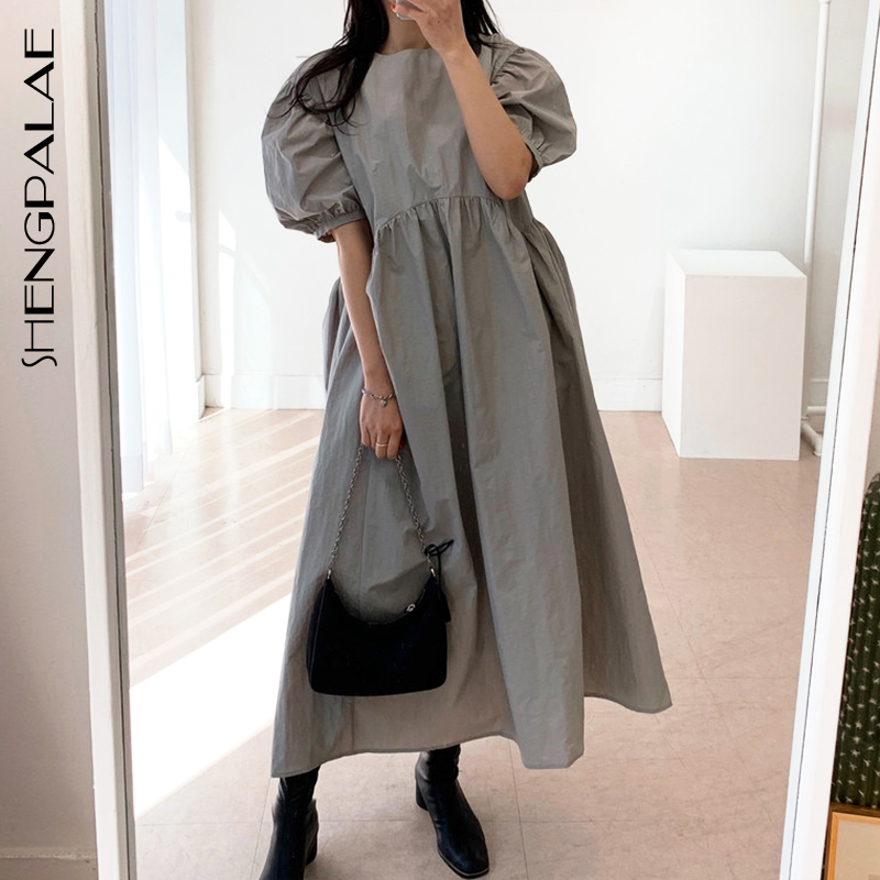 SHENGPALAE 2020 New Summer Women Vintage Loose High Waist Slim Was Thin Elegant Round Neck Pleated Design Maxi Dress ZA4173