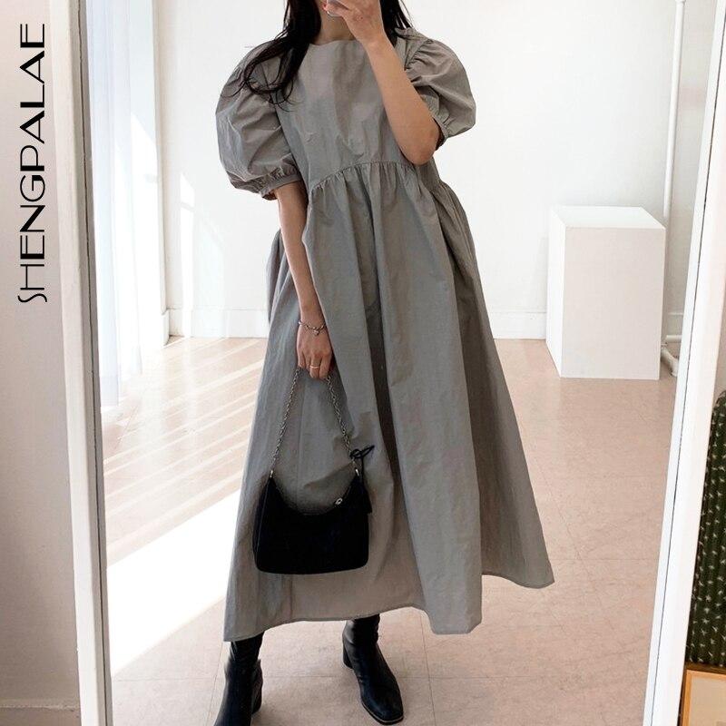 SHENGPALAE 2020 New Summer Women Vintage Loose High Waist Slim Was Thin Elegant Round Neck Pleated Design Maxi Dress ZA4173