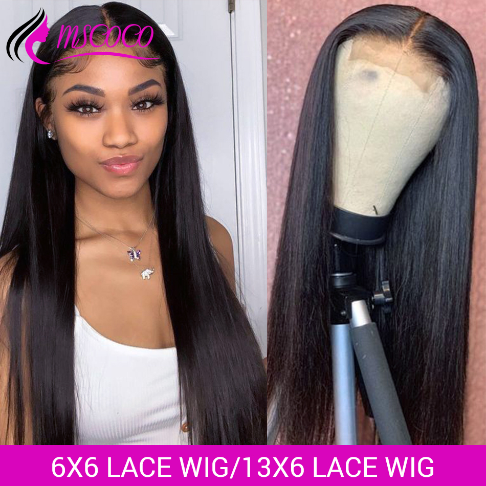 Mscoco 6x6 Lace Closure Wig Straight Lace Front Human Hair Wigs 180 250 Density 13x6 Lace Front Wig Brazilian Human Hair Wigs