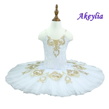 Women performance ballet Stage costume custom made Adult white gold Pre-professional tutu Professional skirt