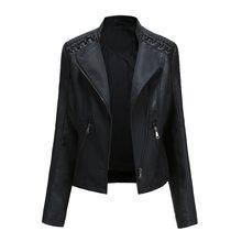 Wiosenna i jesienna kurtka damska moda motocyklowa kurtka odzież wierzchnia płaszcz Faux Leather & Suede Casual PU