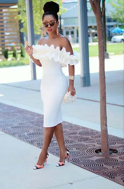 Off Shoulder Ruched Design Bodycon Dress 4