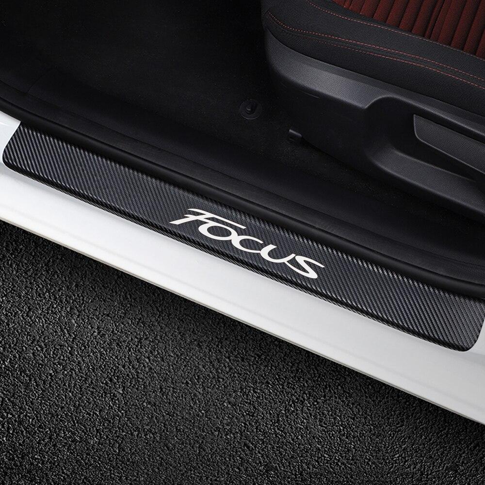 Для Ford Focus 2 3 1 MK2 MK3 MK1 4 шт. наклейки на пороги автомобиля из углеродного волокна авто защита от царапин наклейки аксессуары для тюнинга автомобиля