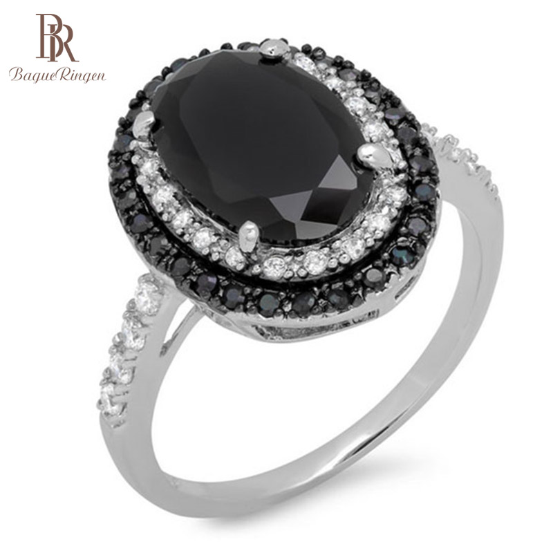 Bague Ringen Creative Black Spinel Ring Sterling Silver 925 Fine Jewelry Black Gemstone Rings For Women Oval Shaped Zircon Gift