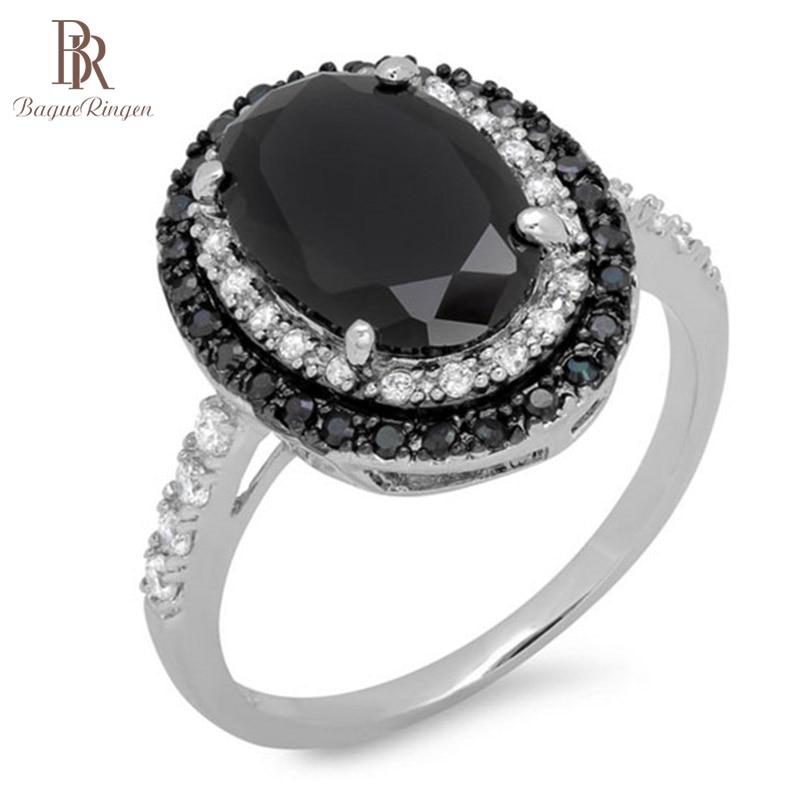 Bague Ringen Creative Black Spinel Ring Sterling Silver 925 Fine Jewelry Black Gemstone Rings For Women Oval Shaped Zircon Gift