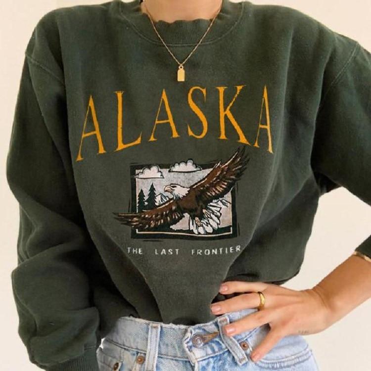Eagle Letter Print White Brand USA Vintage Oversized Crewneck Sweatshirt Women Plus Size Fashion Tops Hip Hop Sports Girl Winter 5