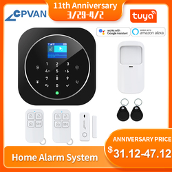 CPVAN WiFi Home Alarm System Tuya Smart Life APP Wireless GSM Security Alarm Kit LCD Touch Keyboard 11 Languages Compatible Alex
