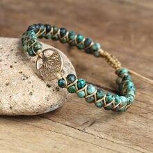 Pulseira artesanal árvore da vida charme pulseiras africano japser corda trançado pulseiras yoga amizade amante pulseira