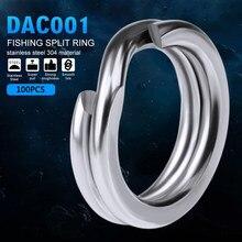 100 pçs/lote 3 #-8 # giro de pesca split anéis de aço inoxidável snap gancho anel de conexão isca de pesca acessórios