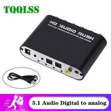 Tqqlss usb 5.1 canais conversor de áudio estéreo aux 3.5mm a 6 rca conversor de áudio dac digital para spdif óptico analógico coaxial dac