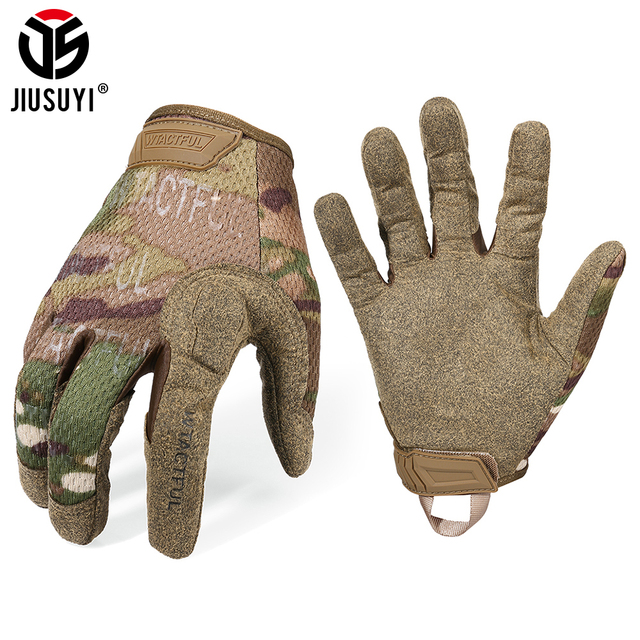 Tactical Army Long Gloves Breathable Military Paintball Airsoft shooting Combat Full Finger Glove Men Women Lightweight Black 1