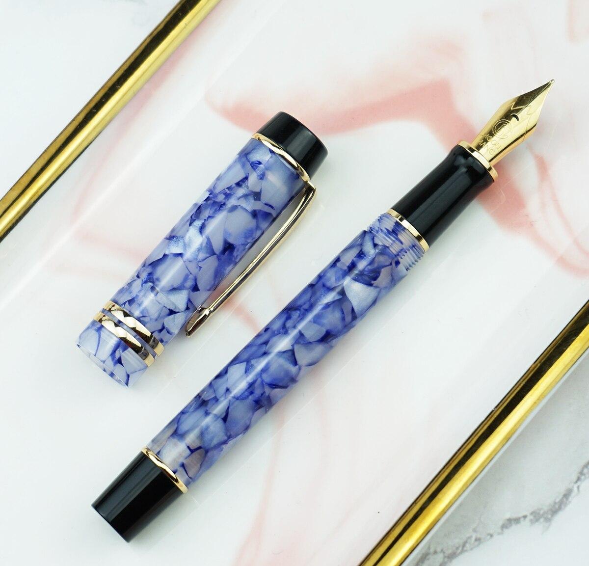 Moonman M600S Celluloid Fountain Pen MOONMAN Iridium Fine Nib 0.5mm Crystal Blue Fashion Office Writing Gift Pen for Business