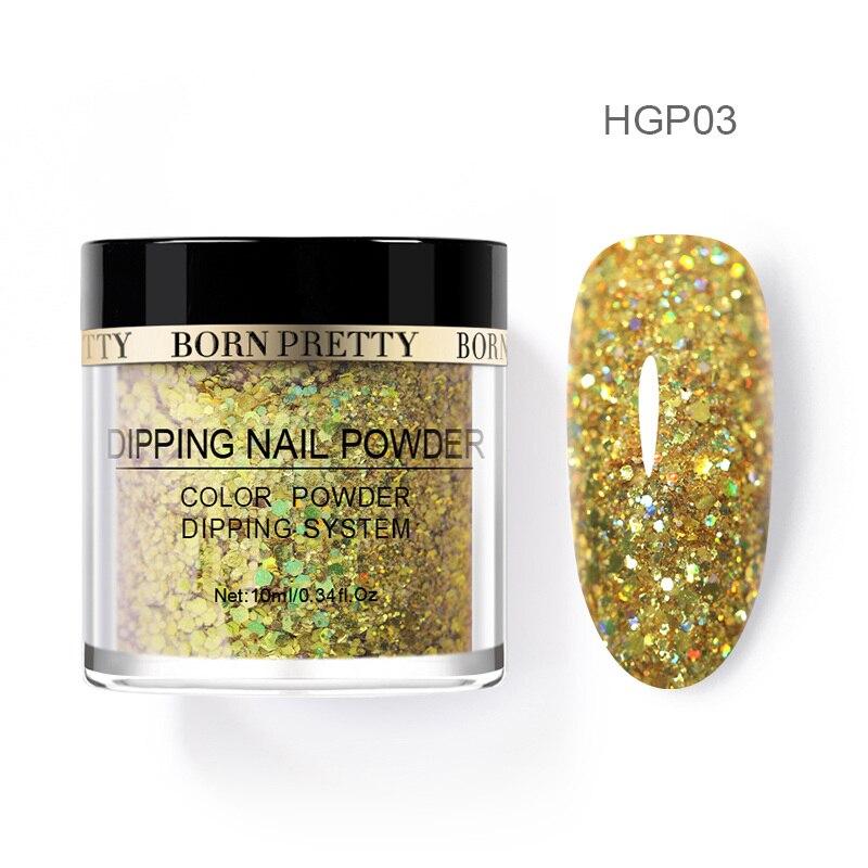 Born pretty, голографическая погружение порошки для ногтей градиент окунания блеск украшения длительным, чем УФ гель натуральный сухой без лампы лечения - Цвет: BP-HGP03