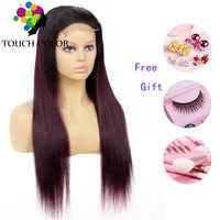 Touch 4x4 Omber Gerade 1B 27 99J Spitze Perücken Remy Brasilianische Ombre Spitze Schließung Menschliches Haar Perücken Für schwarz Frauen 150% Dichte Perücke
