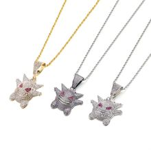 Jewelry Rock Punk Iced Out Shiny Gengar Vampire Bull Pendant Necklace