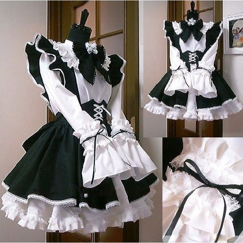 Halloween Women Men <font><b>Cosplay</b></font> Costume Maid Dress Apron Cafe Servnat <font><b>Lolita</b></font> Retro <font><b>Sexy</b></font> Lace Ruched Puff Sleeve Bow Bodydoll Dress image