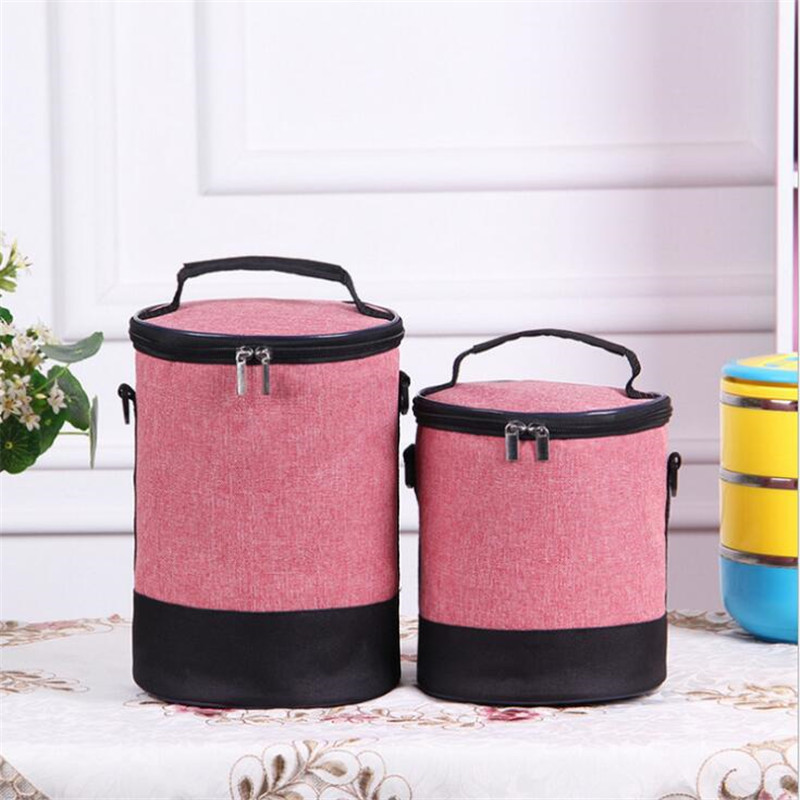 Women Men Round Heat Preservation Package Lunch Bag Denim Shoulder Lunch Boxes Picnic Bento Box Insulated Pack Thermal Ice Packs