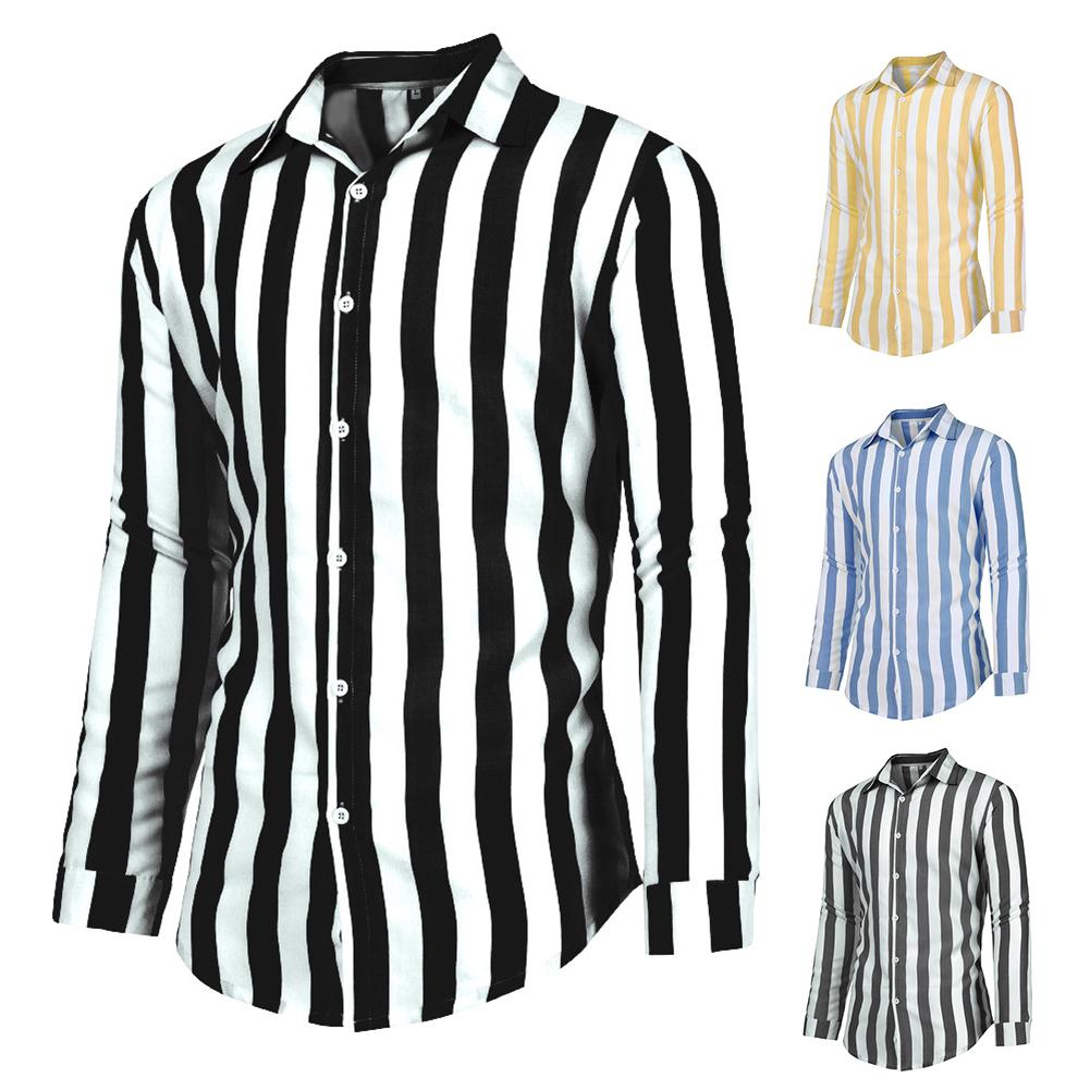 Stylish Simple Lapel Vertical Stripes Loose Buttons Long Sleeve Men's Three-color Shirt Top