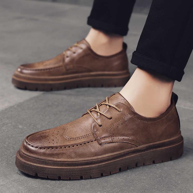 גברים נעלי עור מבטא אירי נעלי מותג אופנה עסקים חיצוני נסיעות מזדמן טבעי הנעלה זכר קלאסי משרד החלקה דירות