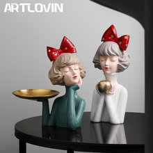 Modern Luxury Bowknot Girl Resin Figurines Home Decoration People Bust Storage Plate Gilr Statue For Room Decor Wedding Gifts