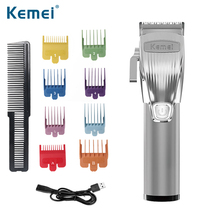 Kemei Professional Hair Clipper Beard Trimmer For Men Barber Powerful Cordless Pro T-outliner Baldhead Clippers Hair Cutting